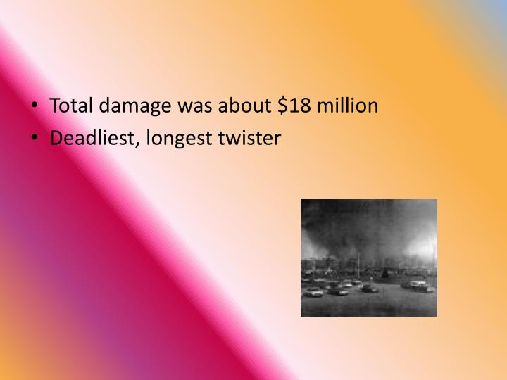 Total damage was about $18 million