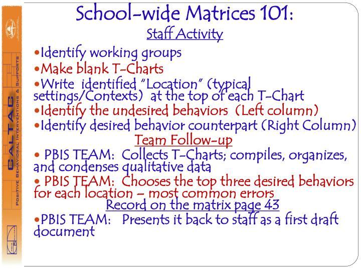 School-wide Matrices 101: