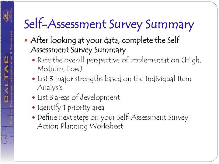 Self-Assessment Survey Summary