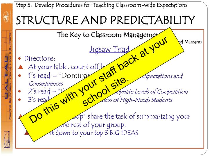 Step 5:  Develop Procedures for Teaching Classroom-wide Expectations