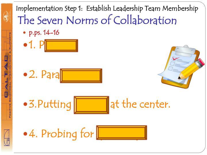 Implementation Step 1:  Establish Leadership Team Membership