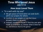 three who loved jesus john 11 1 44