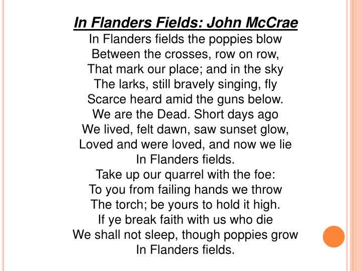 In Flanders Fields: John McCrae