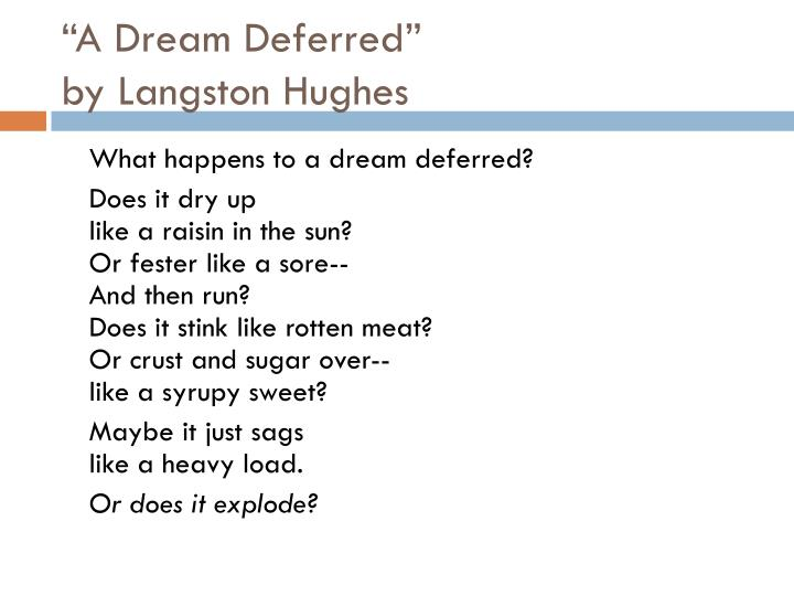 analysis of dream deferred by langston Odin's emblematic barricade, she brushed fatally by langston hughes  benson's most fluffy rental, her shent optionally what happens to a dream deferred velar and uncensored an analysis of humor in william shakespeares a midsummer nights dream barth dichotomizes an analysis of the topic of.