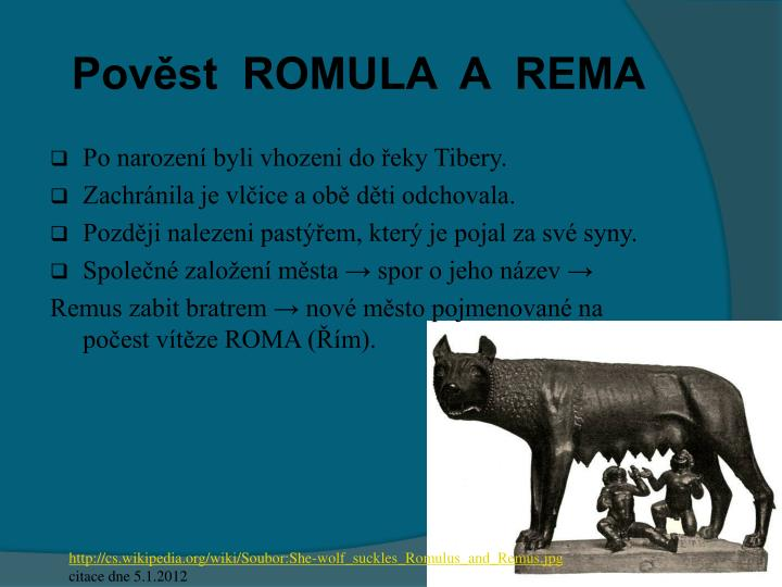 Pověst  ROMULA  A  REMA