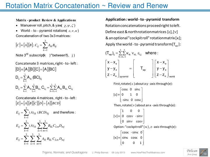 Rotation Matrix Concatenation ~ Review and Renew