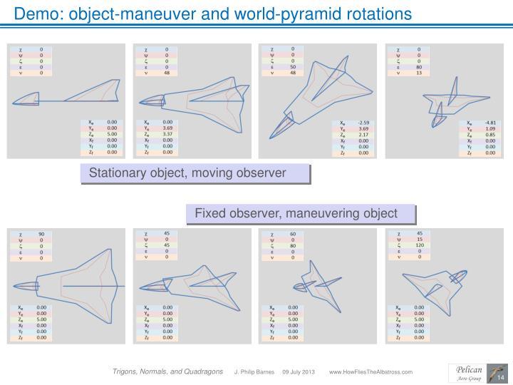 Demo: object-maneuver and world-pyramid rotations