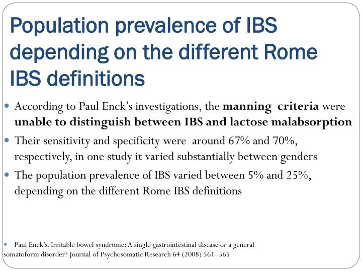 Population prevalence of IBS depending on the different Rome IBS definitions