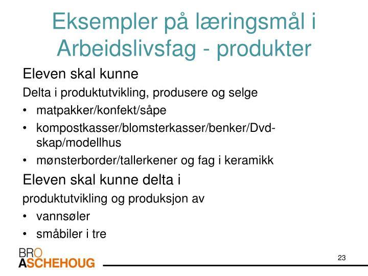 Eksempler på læringsmål i Arbeidslivsfag - produkter