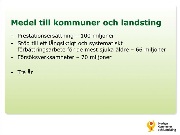 Medel till kommuner och landsting