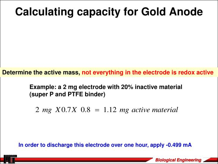 Calculating capacity for Gold Anode