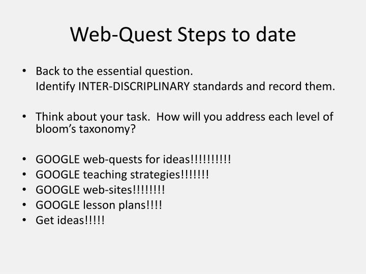 Web-Quest Steps to date