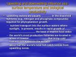 upwelling and downwelling influence sea surface temperature and biological productivity