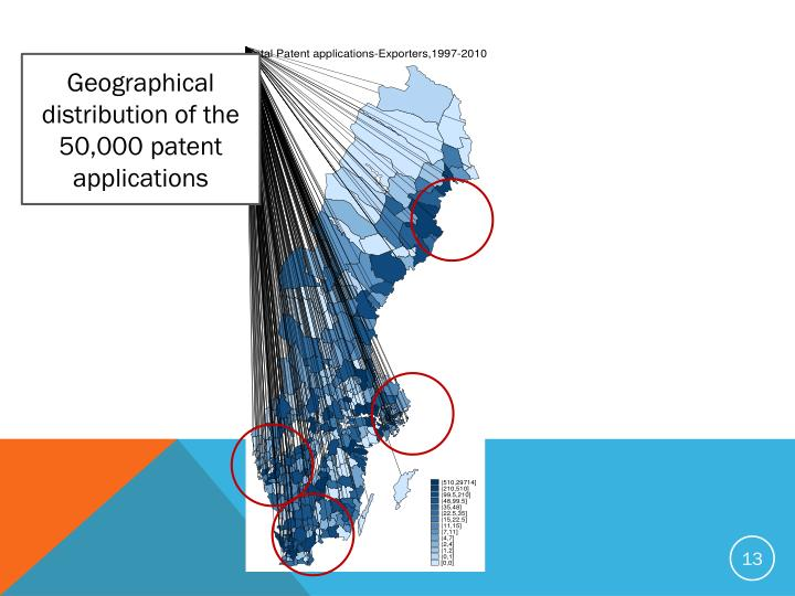 Geographical distribution of the 50,000 patent applications
