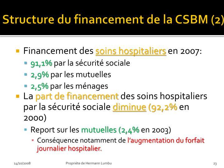 Structure du financement de la CSBM (2)