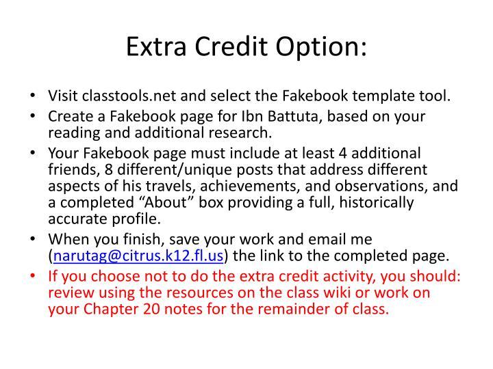 Extra Credit Option: