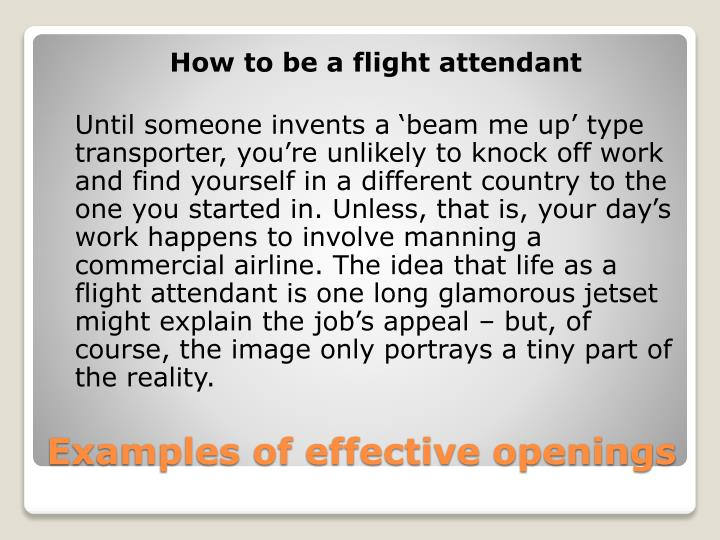 Examples of effective openings