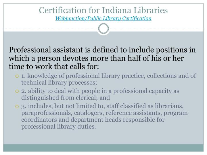 Indiana Library Certification Library And Zoo Idoimages