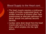 blood supply to the heart cont
