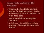 dietary factors affecting rbc production