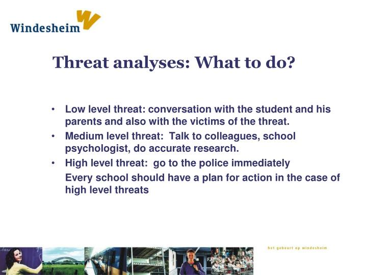 Threat analyses: What to do?