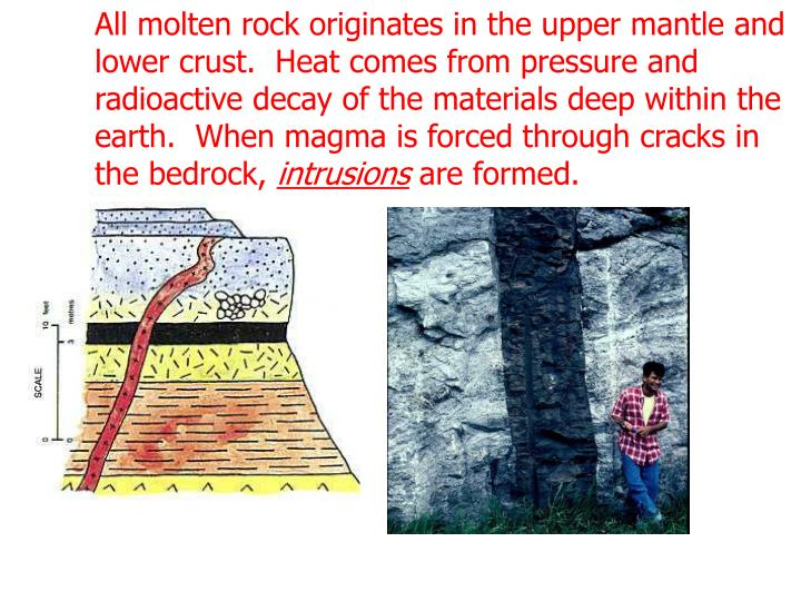 All molten rock originates in the upper mantle and lower crust.  Heat comes from pressure and radioactive decay of the materials deep within the earth.  When magma is forced through cracks in the bedrock,