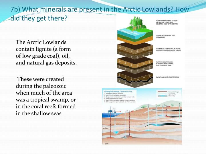 7b) What minerals are present in the Arctic Lowlands? How did they get there?