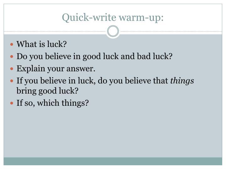 Quick-write warm-up: