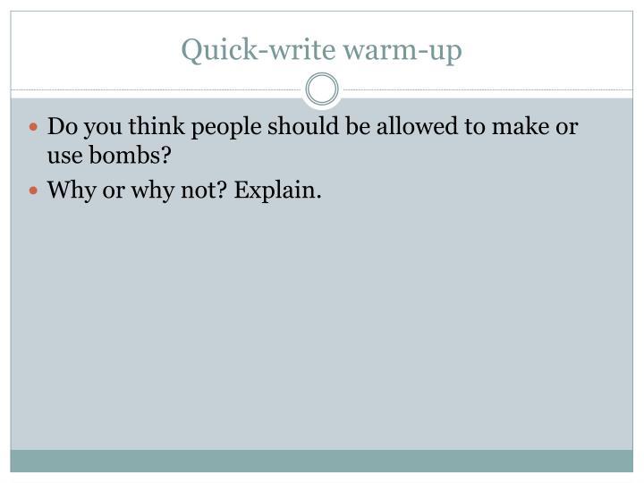 Quick-write warm-up