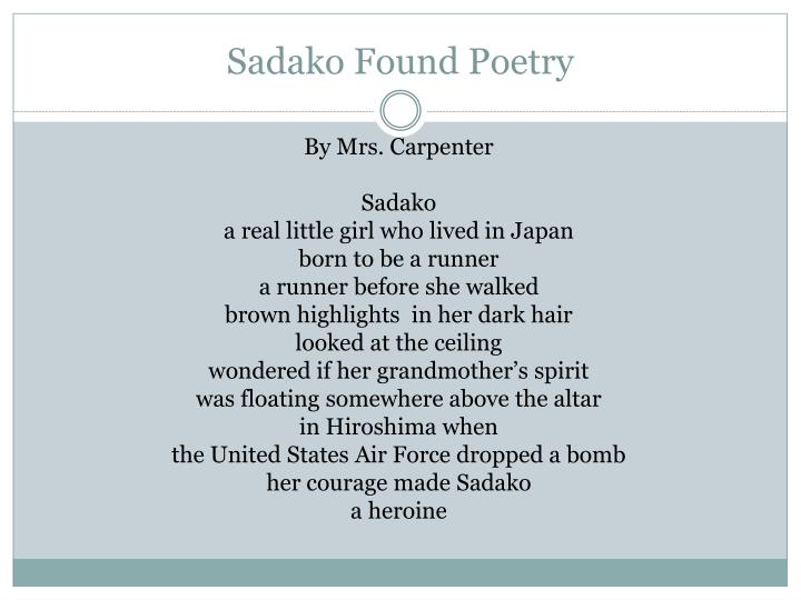 Sadako found poetry