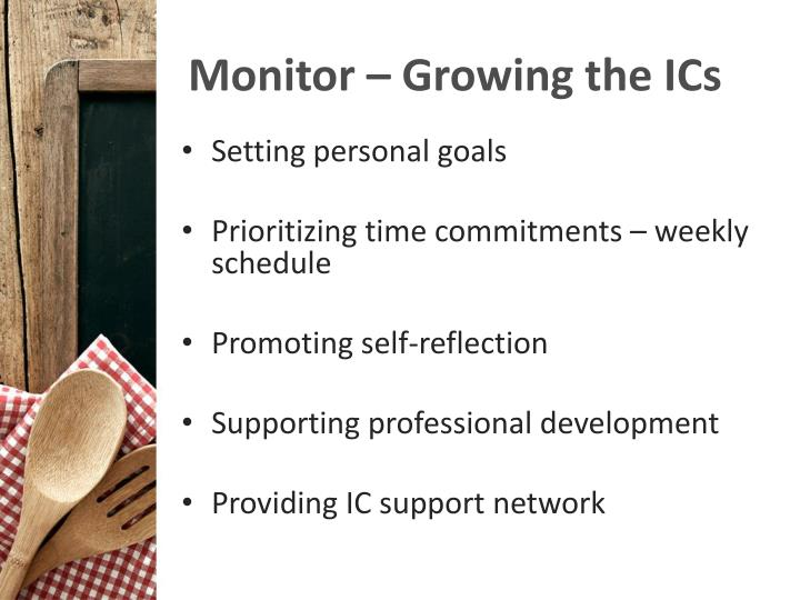 Monitor – Growing the ICs