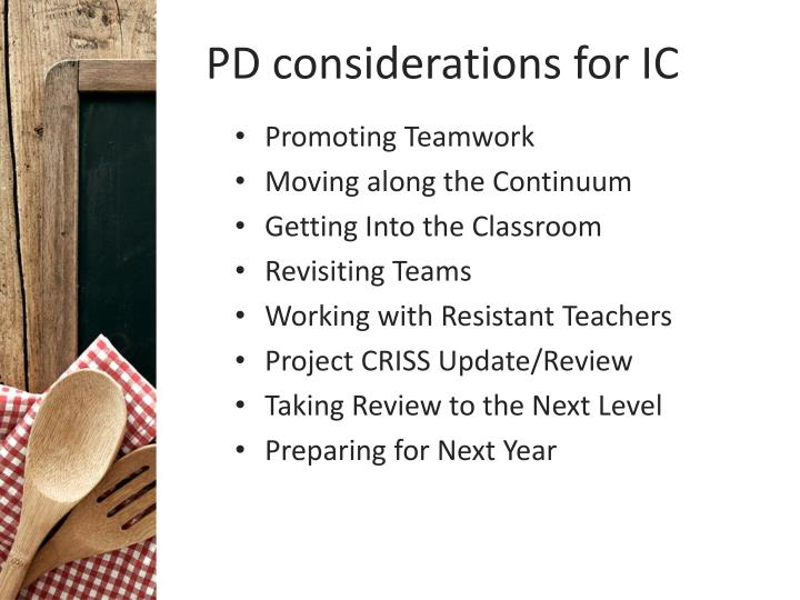 PD considerations for IC