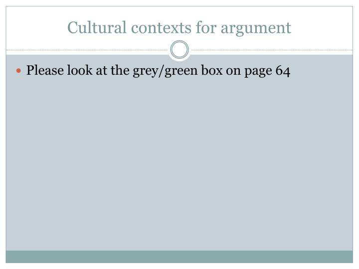 Cultural contexts for argument