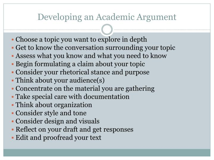Developing an Academic Argument