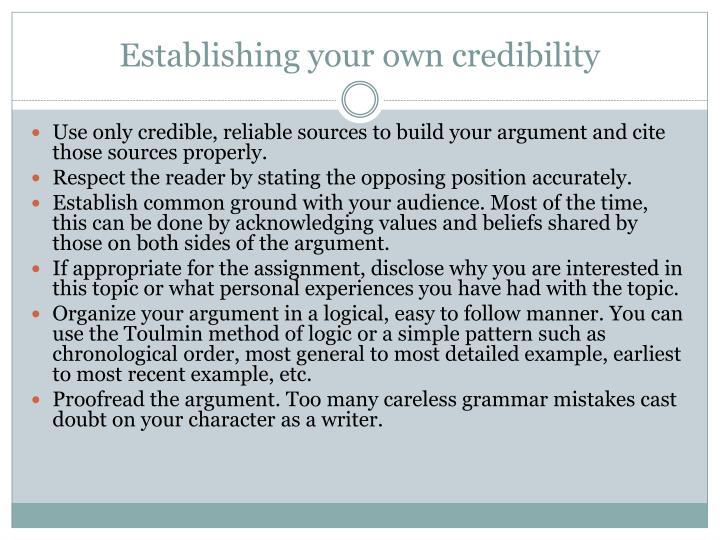 Establishing your own credibility