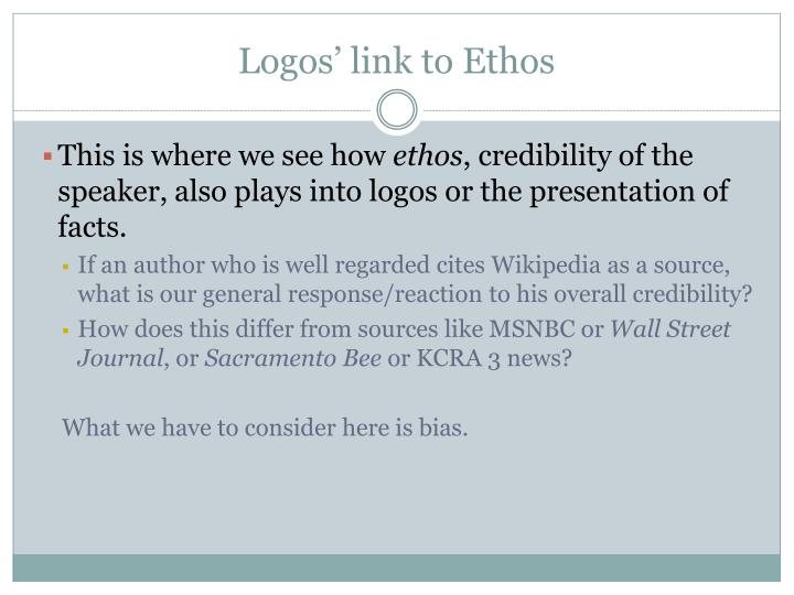 Logos' link to Ethos