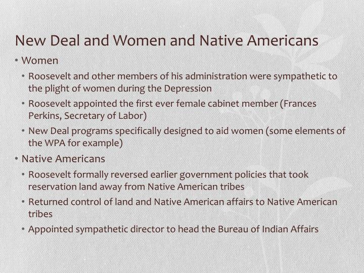 New Deal and Women and Native Americans