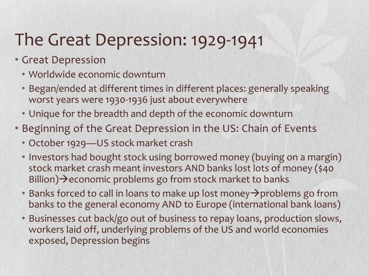 The Great Depression: 1929-1941