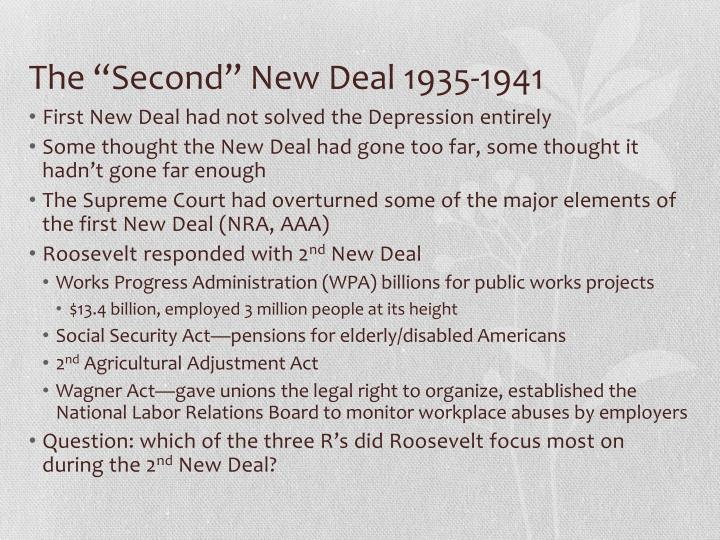 """The """"Second"""" New Deal 1935-1941"""
