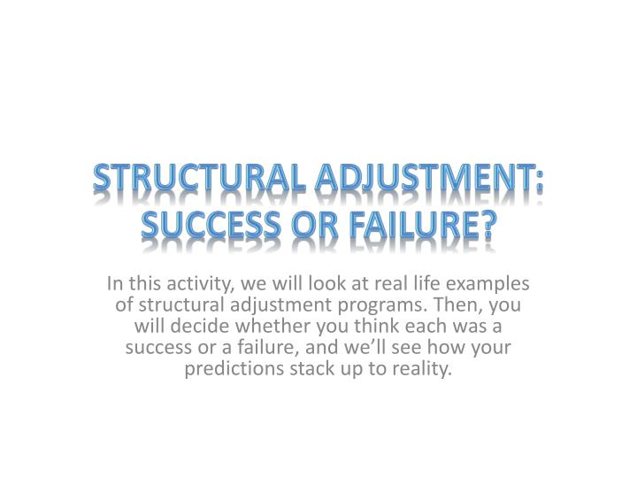 structural adjustment programs the impact on Structural adjustmentattempts to situate saps in a wider development the impact of these programmes on services and the structural adjustment.