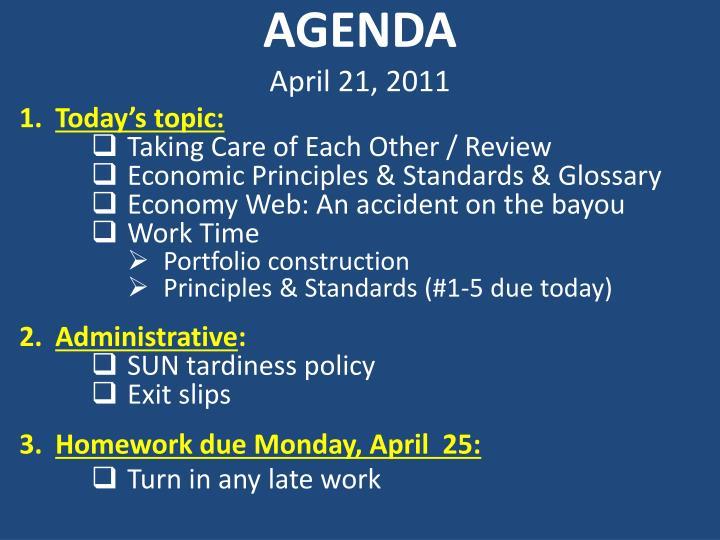 Agenda april 21 2011