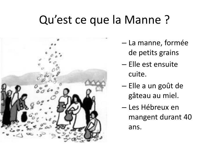 Qu'est ce que la Manne ?