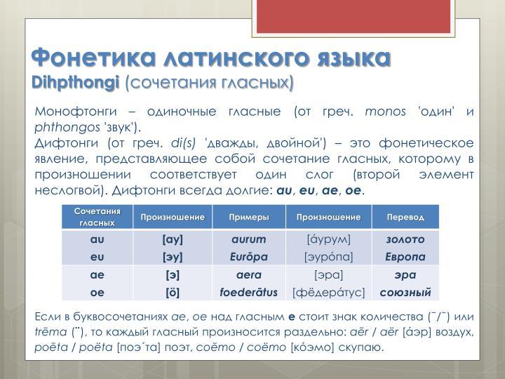 Фонетика латинского языка