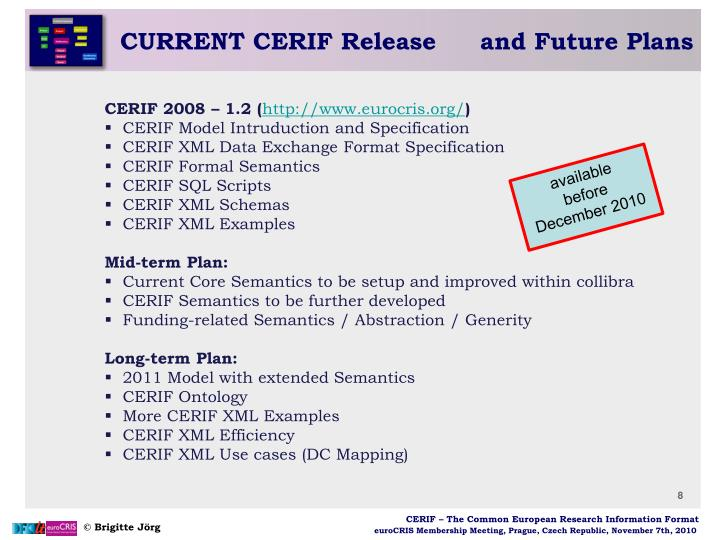 CURRENT CERIF Release	and Future Plans