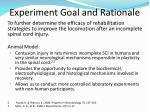 experiment goal and rationale