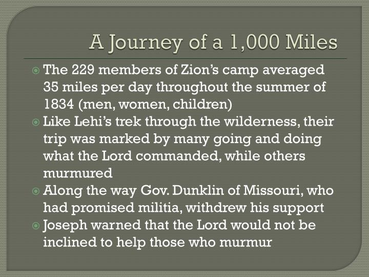 A Journey of a 1,000 Miles
