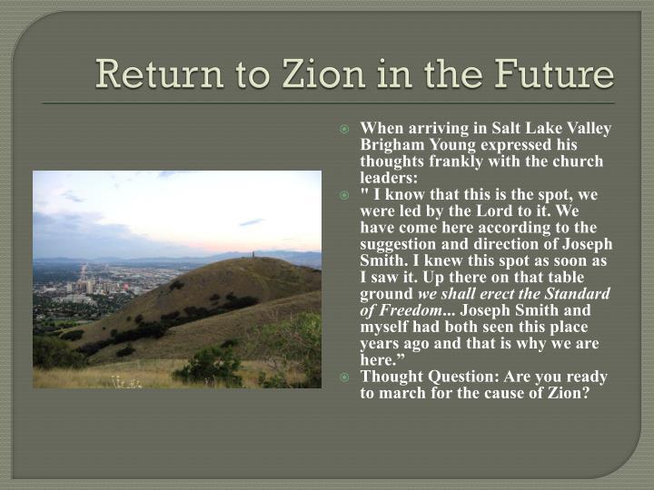 Return to Zion in the Future