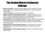 the gradual march to universal suffrage
