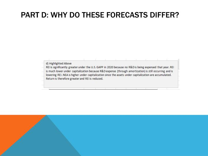 PART D: WHY DO THESE FORECASTS DIFFER?