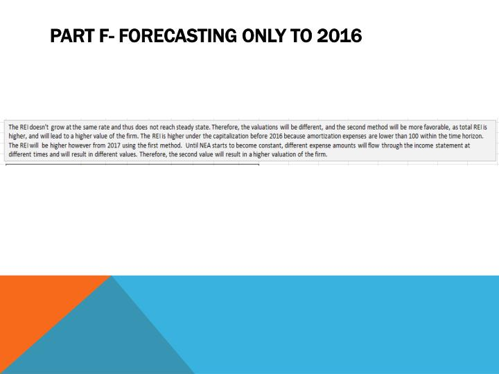 Part F- Forecasting only to 2016